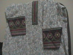 kutch work on yake and sleeves