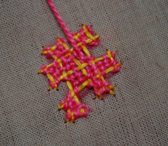 Kutch work tutorial small motif continuos working