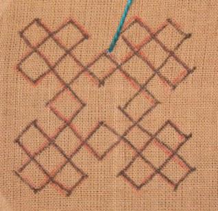 Kutch work tutorial. Woven motif-8 (3/6)