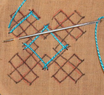 Kutch work tutorial. Woven motif-8 (5/6)
