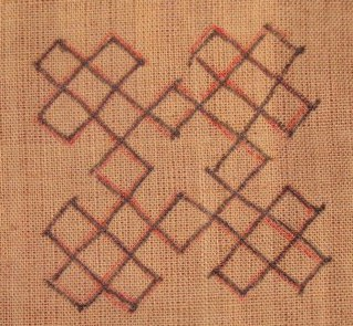 Kutch work tutorial. Woven motif-8 (2/6)