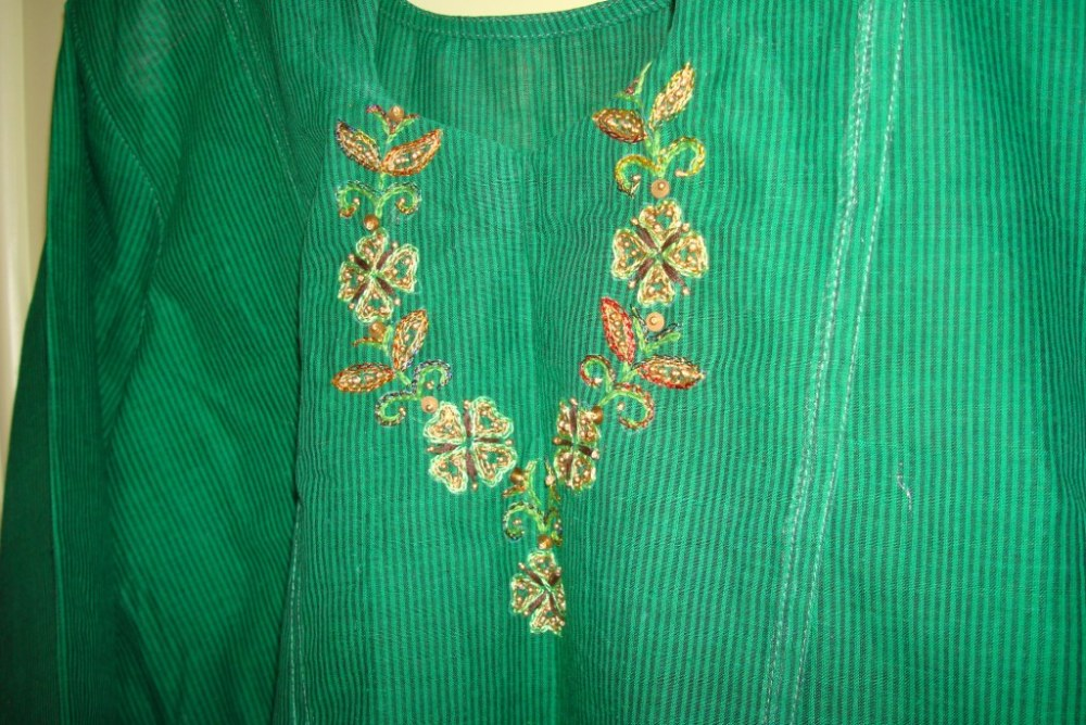 Embroidery, tunic, border pattern, bead work,own design (6/6)