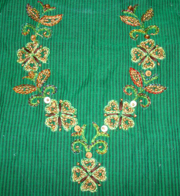 Embroidery, tunic, border pattern, bead work,own design (2/6)