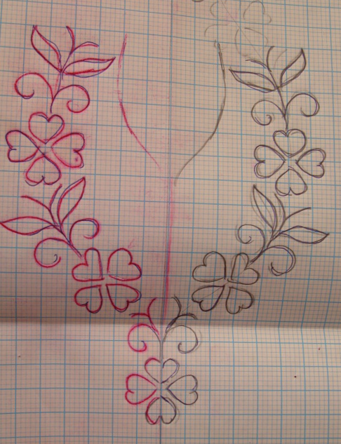 Embroidery, tunic, border pattern, bead work,own design (3/6)