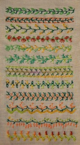 13.61.up and down feather stitch sampler