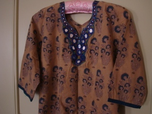 Indigo print on yellow tunic