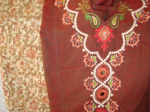 cream kutchwork on brown tunic set