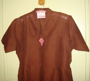 brown tunic with pink kutchwork