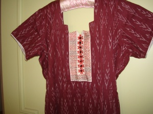 maroon ikat-cream yoke-tunic2