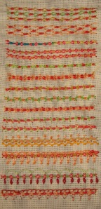 19.67.fancy hem stitch sampler