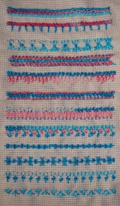 32.80.raised chain stitch sampler