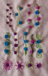 37.85.raised cup stitch sampler
