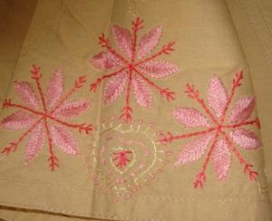 beige pink chikan sleeve emb