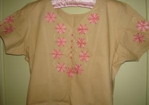 beige pink chikan tunic