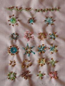 42.90.twisted satin with bead sampler