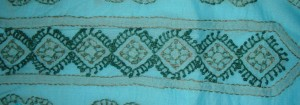 blue green chikan work tunic-=centre