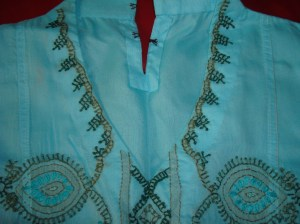 blue green chikan work tunic-neck