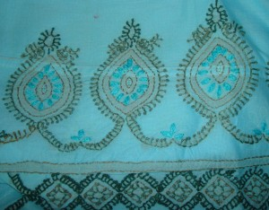 blue green chikan work tunic-  motif detail