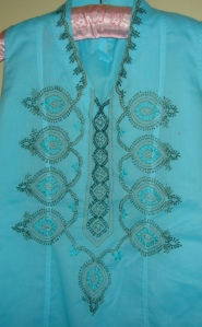 blue green chikan work tunic