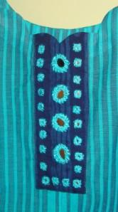 blue striped mirror work-yoke