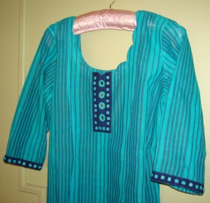 blue striped mirror work tunic