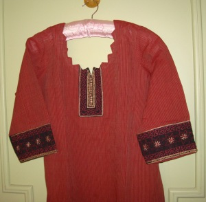 maroon and black tunic