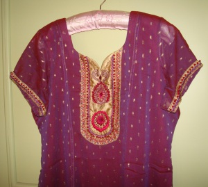 maroon blue georgette tunic