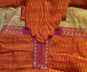 orange yellow, ikat printed sleeves- yoke