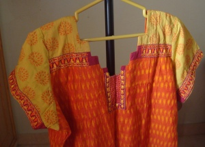 orange, yellow ikat printed sleeves-tunic