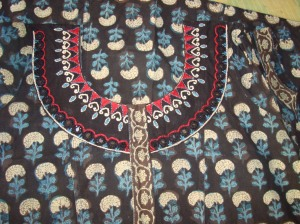 black kalamkari with mirrors-detail