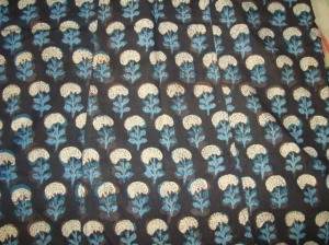 black kalamkari with mirrors-fabric