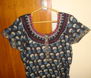 black kalamkari with mirrors tunic