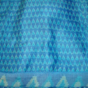 phulkari on blue ikat-fabric