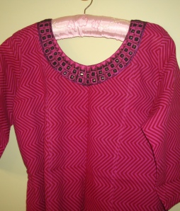majenta mirror work neck-tunic