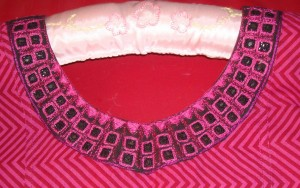 majenta mirror work neck-detail