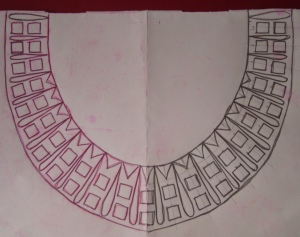 majenta mirror work neck-pattern
