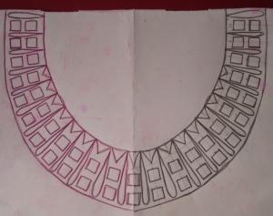 majenta mirror work neck-pattern