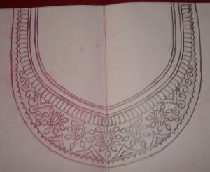 maroon chanderi zardosi-pattern