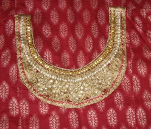 maroon chanderi ardosi-embroidery detail