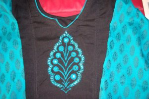 mirrors and stones on black /blue tunic