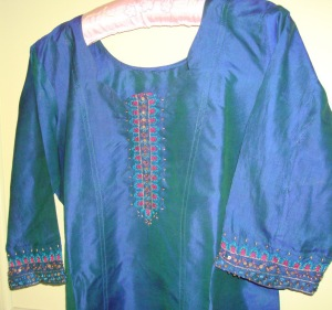 peacock blue silk-tunic