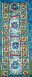 phulkari on blue ikat-embroidery detail