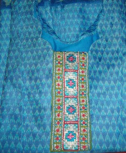 phulkari on blue ikat-tunic