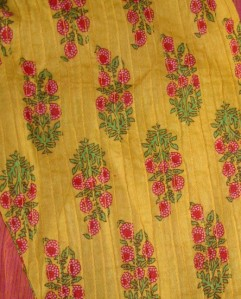 pink yellow kutchwork printed sleeves-sleeves fabric