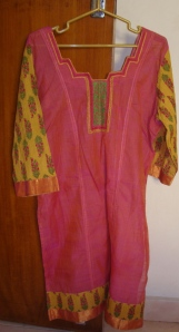 pink yellow kutchwork printed sleeves-tunic