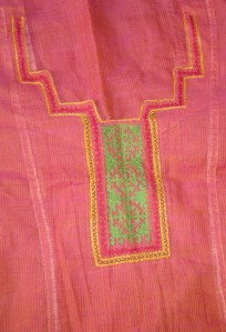 pink yellow kutchwork printed sleeves-yoke detail
