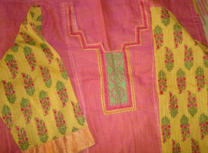 pink yellow kutchwork printed sleeves-yoke sleeves detail
