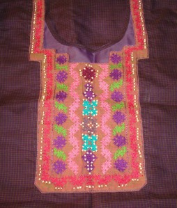 purple tunic woven kutch- pattern