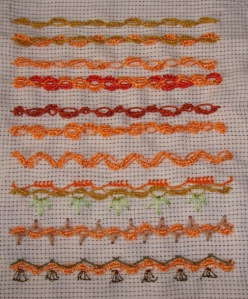 11.105.alternating buttonholed cable chain stitch sampler