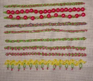 2.96.beaded linked chain stitch sampler